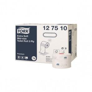 Tork extra jemný toaletný papier v kotúči Premium strednej veľkosti s 3 vrstvami