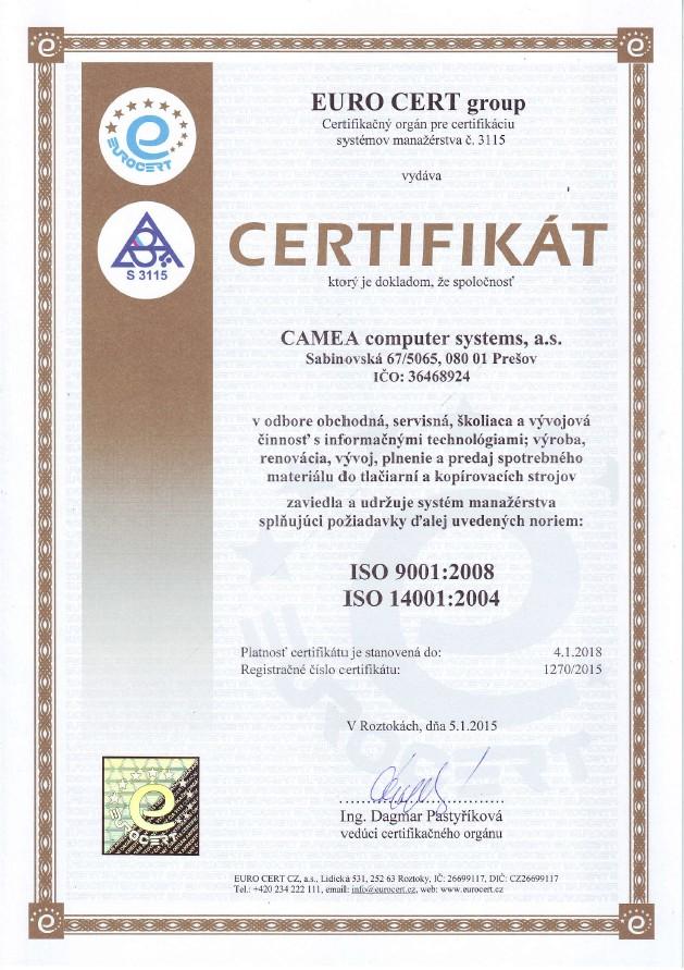 ISO certifikat kvality
